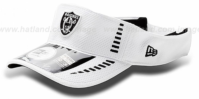 Raiders 'NFL TRAINING' White Visor by New Era : pictured without stickers that these products are shipped with