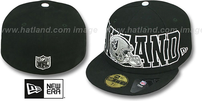 Raiders 'NFL WRAP-IT-UP' Black Fitted Hat by New Era : pictured without stickers that these products are shipped with