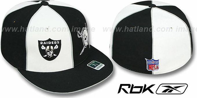 Raiders 'NOW & THEN DOUBLE LOGO' White-Black Fitted Hat : pictured without stickers that these products are shipped with