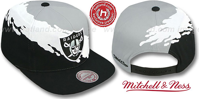 Raiders 'PAINTBRUSH SNAPBACK' Grey-White-Black Hat by Mitchell and Ness : pictured without stickers that these products are shipped with