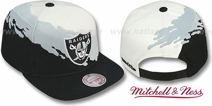 Raiders 'PAINTBRUSH SNAPBACK' White-Grey-Black Hat by Mitchell & Ness : pictured without stickers that these products are shipped with