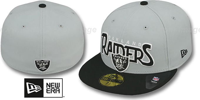 Raiders 'PROFILIN' Grey-Black Fitted Hat by New Era : pictured without stickers that these products are shipped with