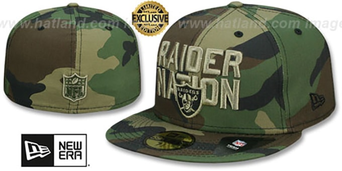 2109e703 Oakland Raiders RAIDER-NATION Army Camo-Tan Fitted Hat by New Era