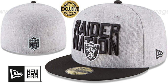 01a94f01 Oakland Raiders RAIDER-NATION Grey-Black Fitted Hat by New Era
