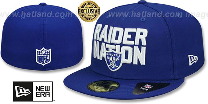 Raiders  RAIDER-NATION  Royal-White Fitted Hat by ... 7f645352996