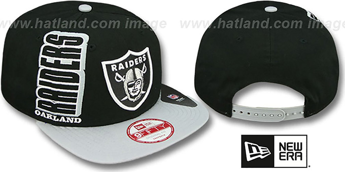 Raiders 'RALLYMARK SNAPBACK' Black-Grey Hat by New Era : pictured without stickers that these products are shipped with