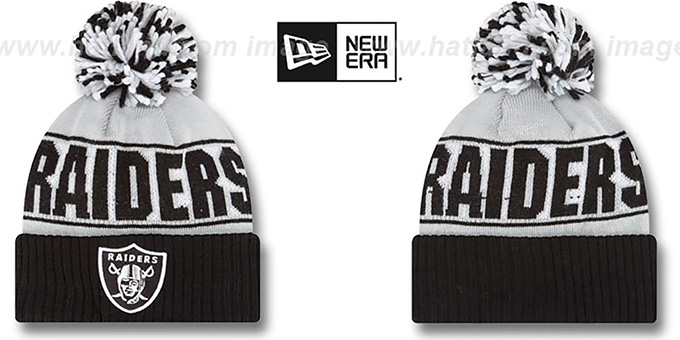 Raiders 'REP-UR-TEAM' Knit Beanie Hat by New Era : pictured without stickers that these products are shipped with