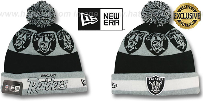 Raiders 'REPEATER SCRIPT' Knit Beanie Hat by New Era : pictured without stickers that these products are shipped with