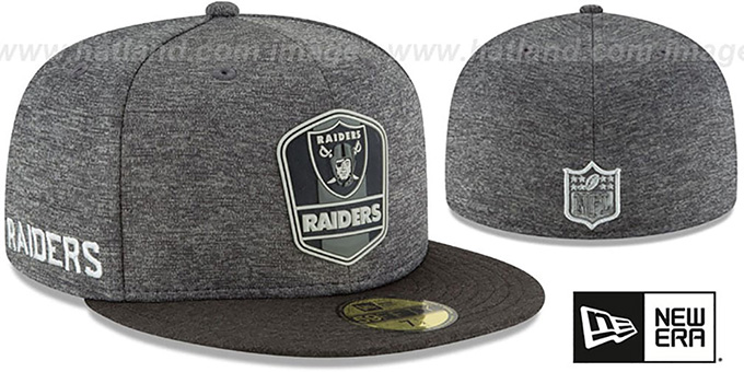 669f5505626 Raiders  ROAD ONFIELD STADIUM  Charcoal-Black Fitted Hat by ...