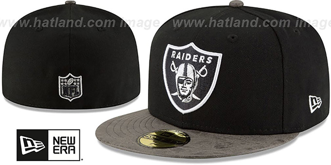 Raiders 'RUSTIC-VIZE' Black-Grey Fitted Hat by New Era : pictured without stickers that these products are shipped with