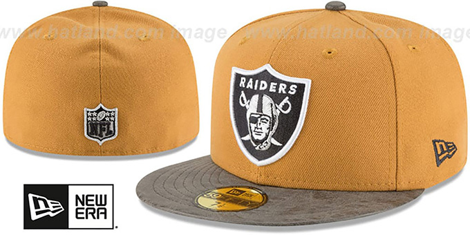 Raiders 'RUSTIC-VIZE' Wheat-Grey Fitted Hat by New Era : pictured without stickers that these products are shipped with