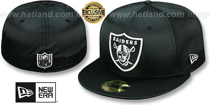 Raiders 'SATIN BASIC' Black Fitted Hat by New Era : pictured without stickers that these products are shipped with