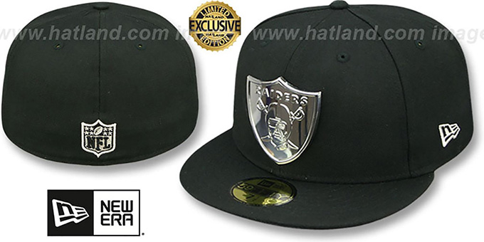e9c5c2874f1 Raiders  SILVER METAL-BADGE  Black Fitted Hat by New Era