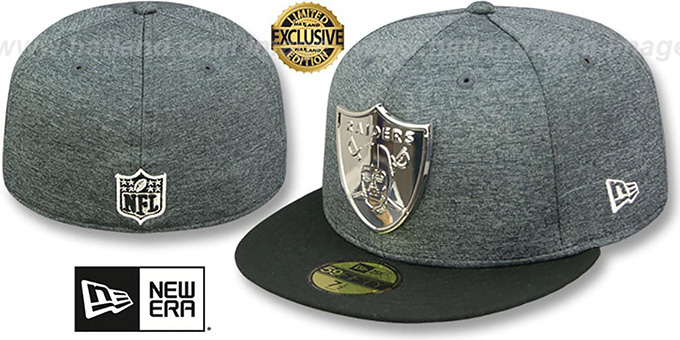 ab73635c Oakland Raiders SILVER METAL-BADGE Shadow Tech-Black Fitted Hat by New Era