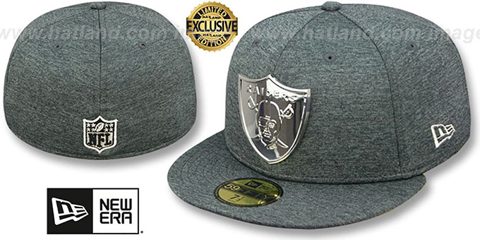 size 40 d43d1 710a2 Raiders  SILVER METAL-BADGE  Shadow Tech Fitted Hat by New Era