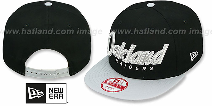 Raiders 'SNAP-IT-BACK SNAPBACK' Black-Grey Hat by New Era : pictured without stickers that these products are shipped with