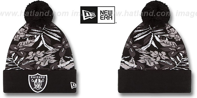 Raiders 'SNOW-TROPICS' Black Knit Beanie Hat by New Era : pictured without stickers that these products are shipped with