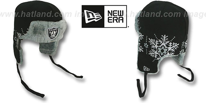 Raiders 'SNOWFLAKE TRAPPER' Black-Grey Knit Hat by New Era : pictured without stickers that these products are shipped with