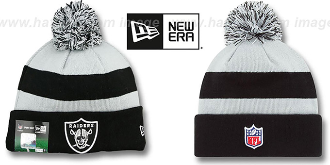 Raiders 'STADIUM' Knit Beanie Hat by New Era : pictured without stickers that these products are shipped with