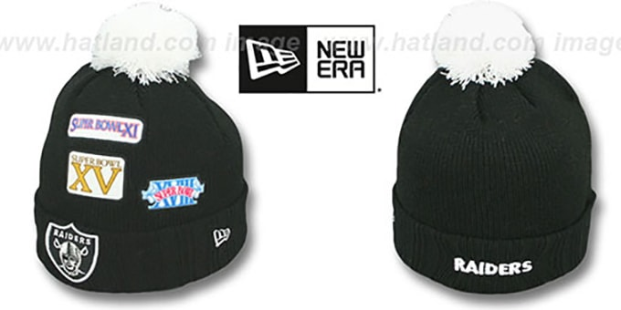 Raiders 'SUPER BOWL PATCHES' Black Knit Beanie Hat by New Era : pictured without stickers that these products are shipped with