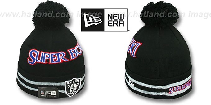 Raiders 'SUPER BOWL XI' Black Knit Beanie Hat by New Era : pictured without stickers that these products are shipped with