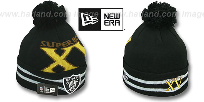 Raiders 'SUPER BOWL XV' Black Knit Beanie Hat by New Era : pictured without stickers that these products are shipped with