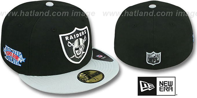 Raiders 'SUPER BOWL XVIII' Black Fitted Hat by New Era : pictured without stickers that these products are shipped with