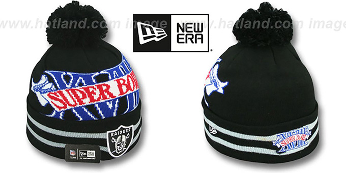 Raiders 'SUPER BOWL XVIII' Black Knit Beanie Hat by New Era : pictured without stickers that these products are shipped with