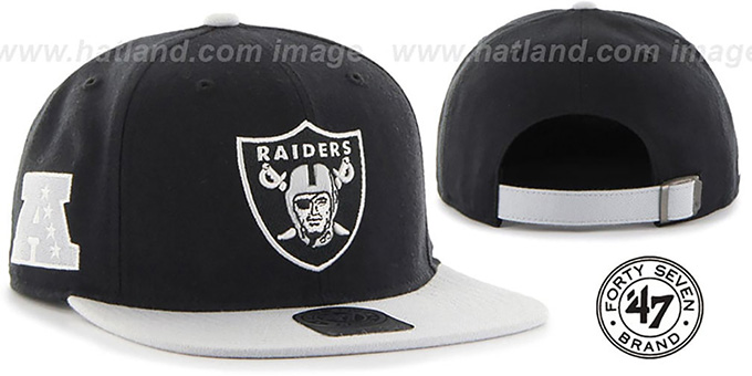 Oakland Raiders SUPER-SHOT STRAPBACK Black-Grey Hat by Twins 47 Brand bbd38cf91af