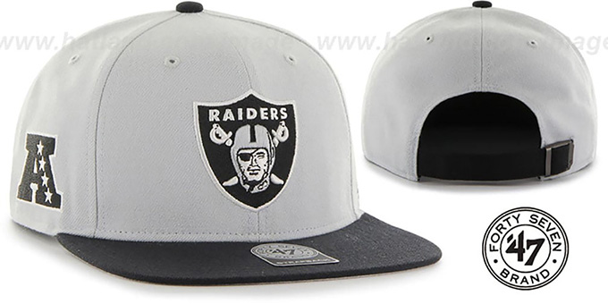 Raiders 'SUPER-SHOT STRAPBACK' Grey-Black Hat by Twins 47 Brand : pictured without stickers that these products are shipped with