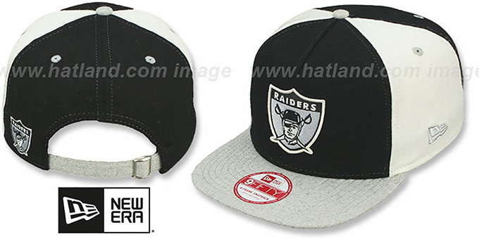 Raiders TB 'TRIPLE MELTON STRAPBACK' Black-White-Grey Hat by New Era : pictured without stickers that these products are shipped with