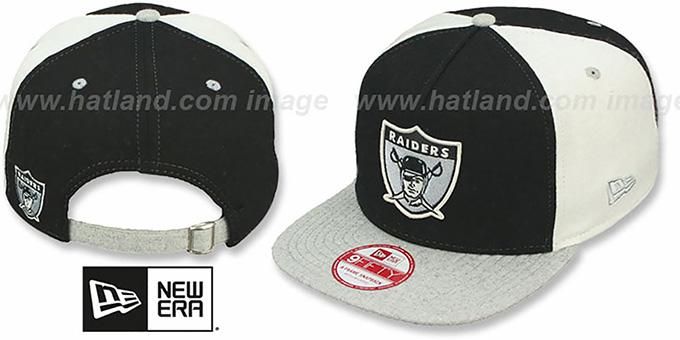 55924e034de Raiders TB  TRIPLE MELTON STRAPBACK  Black-White-Grey Hat by New Era