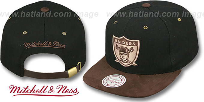 2d106a05 Oakland Raiders TC-BROWN SUEDE STRAPBACK Hat Mitchell and Ness