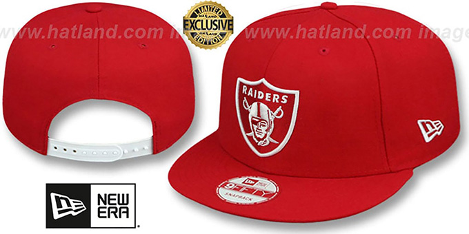 Raiders 'TEAM-BASIC SNAPBACK' Red-White Hat by New Era : pictured without stickers that these products are shipped with