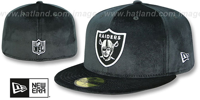 Raiders 'NFL TEAM-BASIC VELOUR' Black Fitted Hat by New Era : pictured without stickers that these products are shipped with