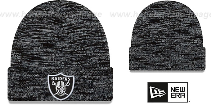 Raiders 'TEAM-CRAZE' Black-Grey Knit Beanie Hat by New Era : pictured without stickers that these products are shipped with