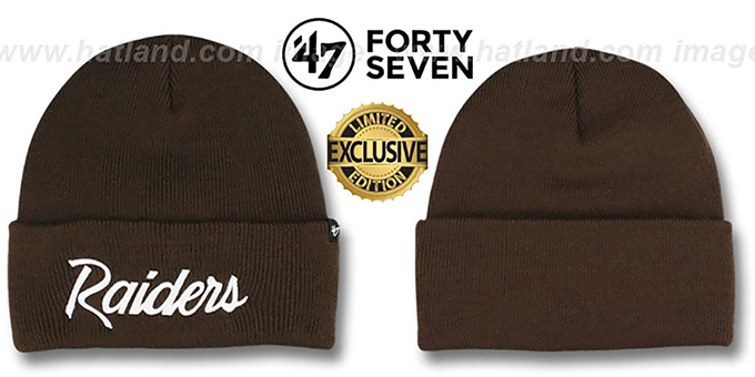 Raiders 'TEAM-SCRIPT' Brown-White Knit Beanie Hat by Twins 47 Brand : pictured without stickers that these products are shipped with