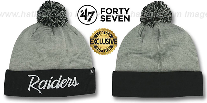 Raiders  TEAM-SCRIPT POM  Grey-Black Knit Beanie Hat by Twins 47 9c01ae9eb7b