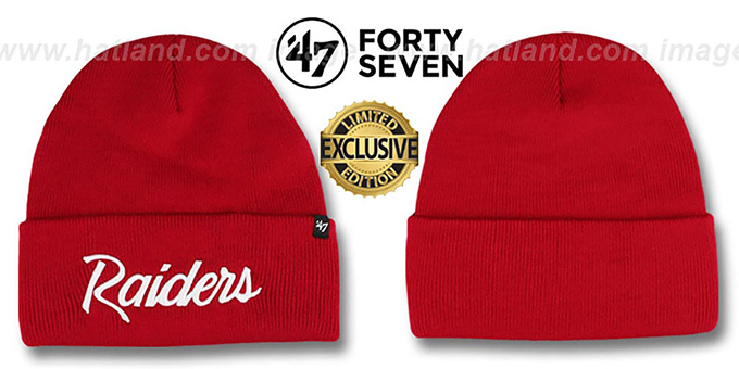 Raiders 'TEAM-SCRIPT' Red-White Knit Beanie Hat by Twins 47 Brand : pictured without stickers that these products are shipped with