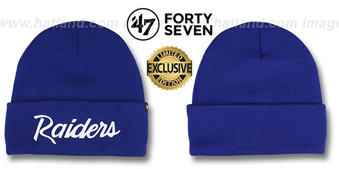 Raiders 'TEAM-SCRIPT' Royal-White Knit Beanie Hat by Twins 47 Brand : pictured without stickers that these products are shipped with