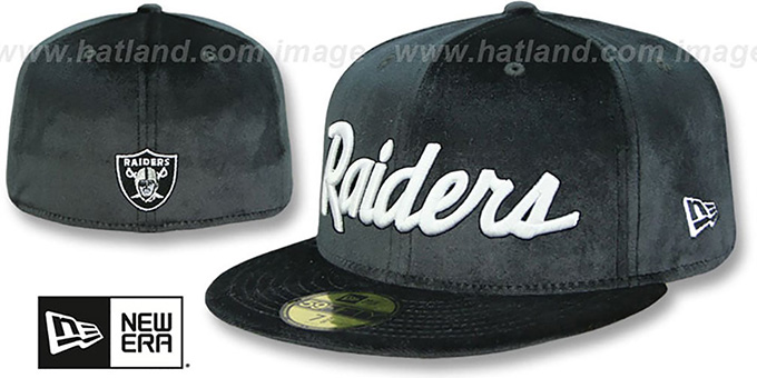 Raiders 'TEAM-SCRIPT VELOUR' Black Fitted Hat by New Era : pictured without stickers that these products are shipped with