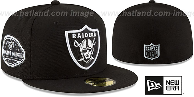 Raiders 'TEAM-SUPERB' Black Fitted Hat by New Era : pictured without stickers that these products are shipped with