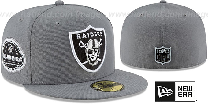 Raiders 'TEAM-SUPERB' Grey Fitted Hat by New Era : pictured without stickers that these products are shipped with