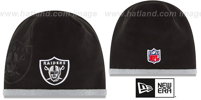 Raiders 'TECH-KNIT STADIUM' Black-Grey Knit Beanie Hat by New Era : pictured without stickers that these products are shipped with