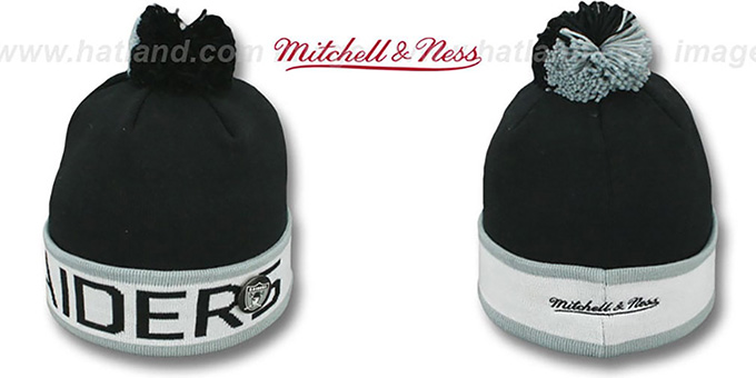 Raiders 'THE-BUTTON' Knit Beanie Hat by Michell & Ness : pictured without stickers that these products are shipped with