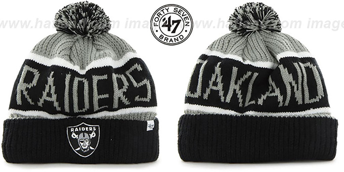 Raiders 'THE-CALGARY' Black-Grey Knit Beanie Hat by Twins 47 Brand : pictured without stickers that these products are shipped with