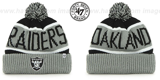 Raiders 'THE-CALGARY' Grey-Black Knit Beanie Hat by Twins 47 Brand : pictured without stickers that these products are shipped with