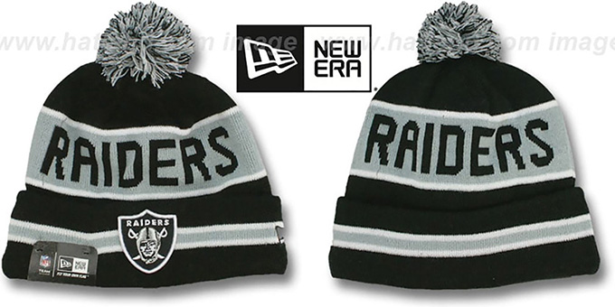 Raiders 'THE-COACH' Black Knit Beanie Hat by New Era : pictured without stickers that these products are shipped with
