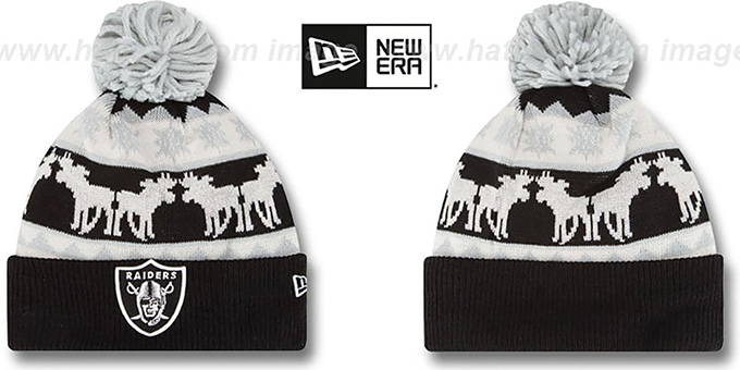 Raiders 'THE-MOOSER' Knit Beanie Hat by New Era : pictured without stickers that these products are shipped with