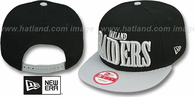 Raiders 'THROUGH SNAPBACK' Black-Grey Hat by New Era : pictured without stickers that these products are shipped with